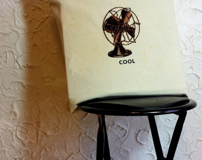 Embroidered Retro Cool Fan Graphic Canvas Tote Bag