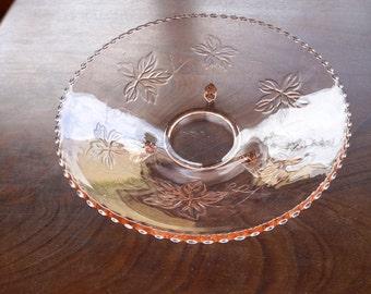 Beautiful mid century pink pressed glass bowl, rosalin, grape leaves
