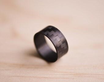 Carbon Fiber Ring - Black Twill Finish Carbon Fiber Ring