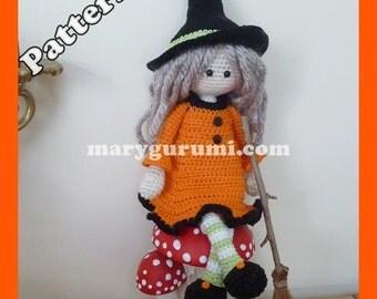 Crochet Pattern, pattern, tutorial, Amigurumi doll, witch