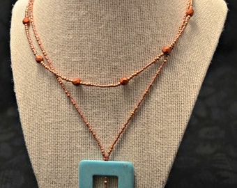 Long copper and turquoise layering necklace