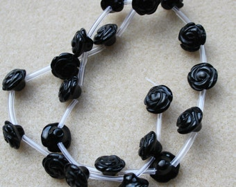 Black Agate Hand Carved Flower Beads