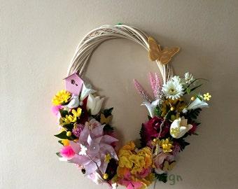 Oval Spring, Summer Wreath, Mothers Day Wreath, Wall Decoration, All Season Wreath, Home Decor, Front Door Wreath, Summer Flower Wreath