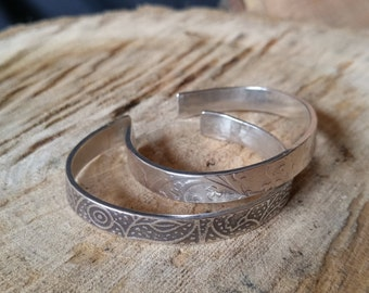 Sterling Silver patterned, patinaed narrow cuff Bracelet