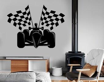 Wall Vinyl Decal Checked Flag Formula 1 Karting Kart Supercart Amazing Car 1324dz