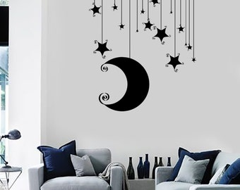 Wall Vinyl Decal Romantic Bedroom Stars Moon Cool Kids Decor Mural Art 1481dz
