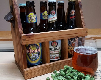 Reclaimed Wood Beer Caddy. Wood Six Pack Beer Carrier
