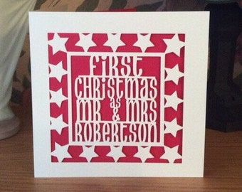 Papercut - Christmas Card -  Personalised First Christmas as Mr & Mrs Card