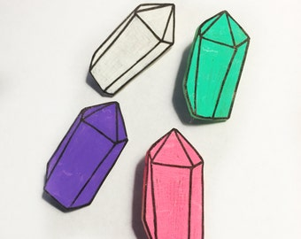 Crystal Geometric Gem Pin Pack of 4, Pastel Pink Purple White Green, Button Badge Patch Brooch