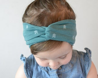 Baby Turban Headband, Turban Head Wrap, Twisted Headband Baby Headwrap, Twist Turban | Green Chevron.