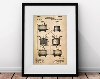 Beer Gifts, Beer Patent, Beer Brewing, Home Bar Decor, College Dorm Art, Beer Art, Vintage Illustration, Printable Beer Art