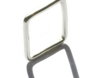 Sterling Silver Handmade Square Ring (round) - The Savannah Collection