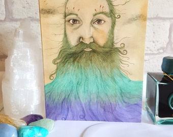 Beard Greetings Card, Bearded Man Note Card, Beard Lovers Card, Nautical Card, Thank You Card, Birthday Card, Victorian Style Card