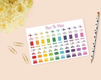 Rainbow Travel Sampler! Airplanes, Passports, Boarding Passes, Roadtrip, Vacation! Planner Stickers Great for the Erin Condren Life Planner!