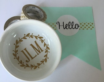 Monogrammed Ring Dish- Engagement Ring Dish- Personalized Ring Dish- Bridesmaid GIft- New Bride Gift- Engagement Gift