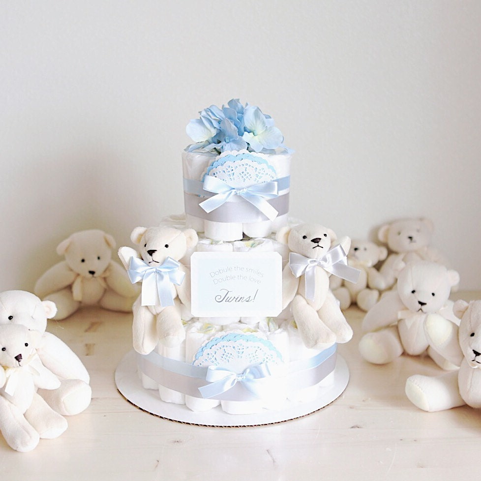 Twins polar bear diaper cake with soft toy baby boy for Baby shower diaper decoration