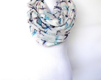 White Infinity Dragonfly Scarf / Summer  Scarf /Fashion Scarf / Women's Scarf / Gift For Her / Boho Scarf Shawl / Bohemian Accessories Gifts