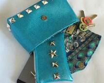 Handmade Turquoise clutch
