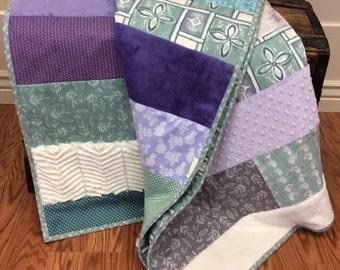 Purple, Aqua, Green, and Beige Quilt