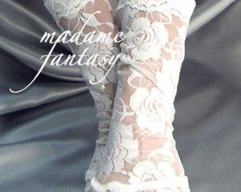 X Long white lace cuffs fingerless gloves arm warmers