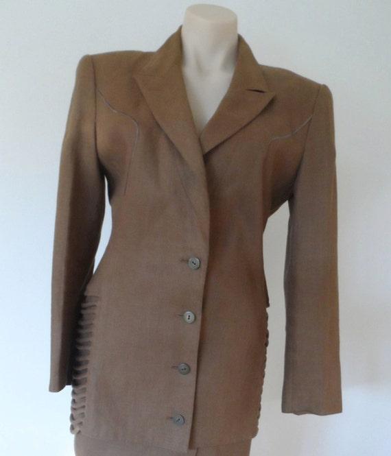 CLAUDE MONTANA of Paris Khaki Jacket - Size 9 see measurements - vintage