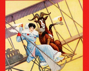 Bar Bock Beer Goat Lady Flying Airplane Drinking Famous Newport kentucky American Brewing Beer Vintage Poster Repro FREE SHIPPING in USA