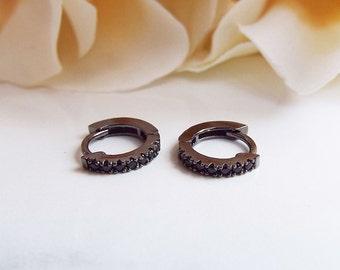 Silver sapphire earrings white gold - cartilage hoop earrings white gold