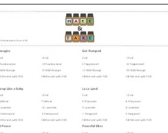 Essential Oil Recipe Sheets