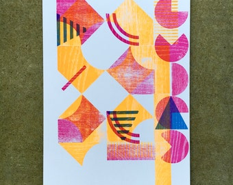 3-color Abstract Modular Type Letterpress Print