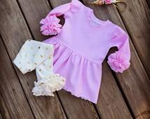Easter Light pink tunic,baby girls pink tunic,ruffle knit tunic,toddler easter tunic dress,newborn tunic,infant pink tunic,knit easter tunic