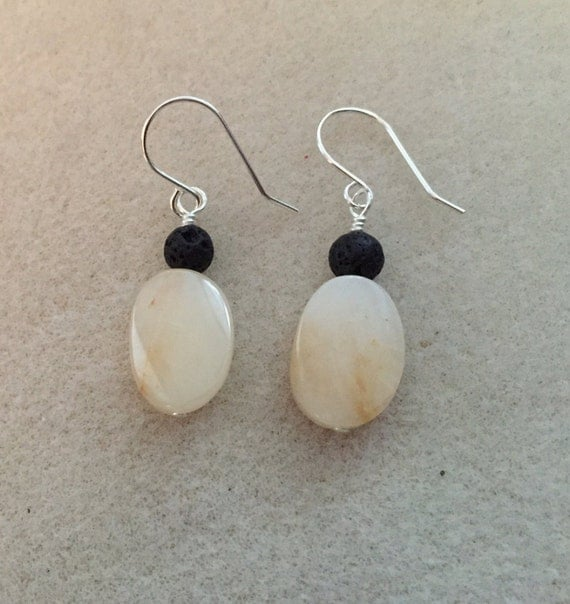 Lava Diffuser Sterling Silver Yellow Jade Gemstone Earrings. Lava Stones for Essential Oils. Genuine Gemstones. Matching Necklace Available