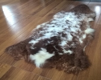 Sheepskin /Lambskin rug - pelt - 100% natural - supersoft - brown with white spots - fleece, hide - ready for shipping - handmade in Ireland