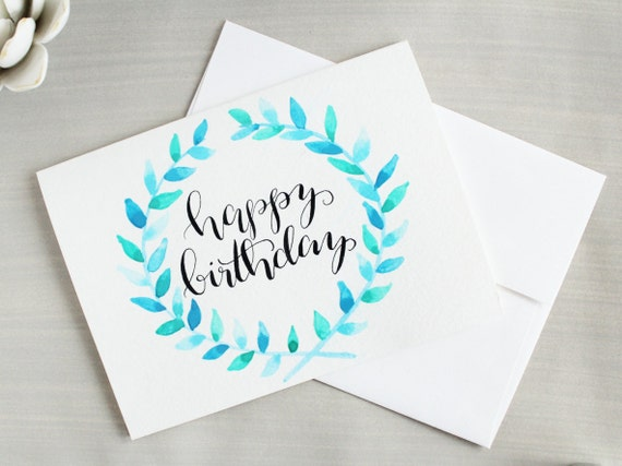 Happy birthday card blue