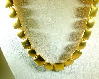 Anne Klein Vintage Circles and Squares Gold Plated Necklace