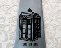 Mens Tie - Doctor Who - gift for him - father day gift - blue tie - wide tie - Gallifreyan symbols
