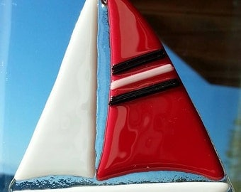 Fused Glass Red Sail Boat Tree Ornament or Sun Catcher