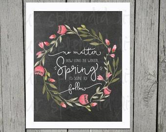 Spring Wreath Digital Printable 16 x 20