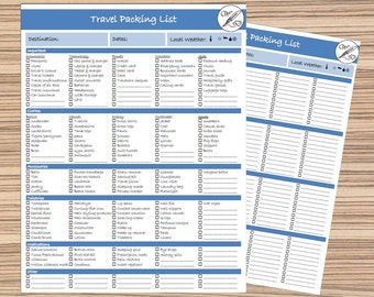 Packing List, Travel List Printable, Travel Checklist, Instant Download, Printable List, Vacation Packing, Travel Pack List, Trip List, #t2