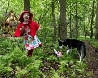 Little Red Riding Hood Costume, Red Riding Hood Cape, Peasant Dress, Kids Costume, Fairytales, Halloween Costume, Birthday Party Theme