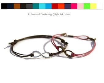 Bronze or Silver Infinity Bracelet - Bronze Infinity bracelet - Silver Infinity bracelet - Mens Infinity - Womens Infinity - Cord infinity