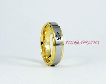 "Ladies Tungsten Band with Step Edge ""<3"" Design Ring - 6mm Tungsten Ring"