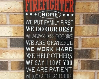 Firefighter decor   Etsy. Firefighter Room Decorations. Home Design Ideas