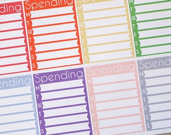 Planner Stickers Spending Tracker Sidebar List for Erin Condren, Happy Planner, Filofax, Scrapbooking