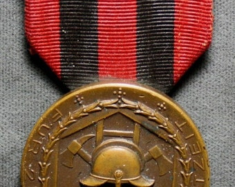 Vintage 1920's German Fire Service Medal With ribbon