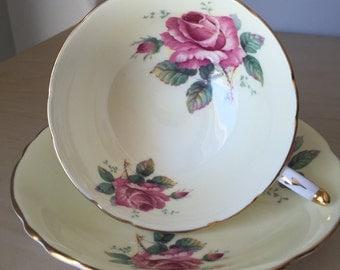 Paragon Pastel Yellow Vintage Teacup and Saucer, Pink Rose Tea Cup and Saucer, English Floral China, 1960s