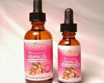 100% Pure & Certified Organic MORROCAN ARGAN OIL in Glass brown Bottle
