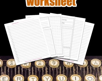 Writing A Book Worksheet | For Writers, Writing Tools, Indie Author Tools, Self Publishing Products For Fiction and Non Fiction Authors