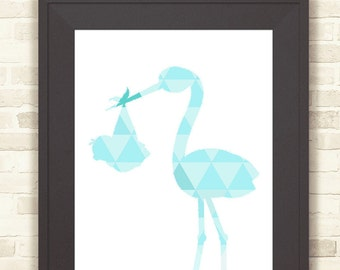 Blue Nursery Wall Art, Blue Geometric Stork & Baby, Printable Art, Instant Download, Nursery Wall Art, Decor Blue Stork Print