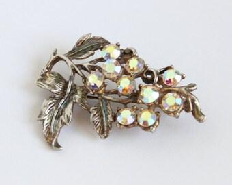 Vintage 1950s Silver Tone Aurora Borealis Brooch Pin