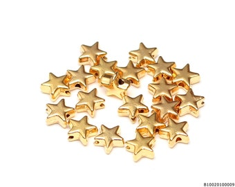 20 pcs Gold Star Beads, Celestial Beads, Gold Charm for Necklace, 8x8mm Star Charms, Wholesale Charms, Bulk Jewelry Supplies